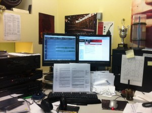My desk at Radio New Zealand.