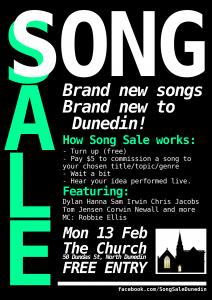 Song Sale Dunedin - February 2012 poster