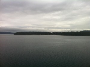 Looking east onto North Pender Island from the Gulf of Georgia.